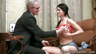 Hot young brunette spreads her legs alongside open and rides her old teacher's hard cock